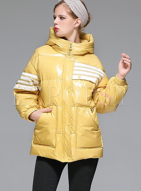 Hooded Color-blocked Loose Puffer Coat