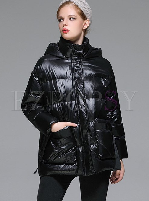 Hooded Pure Color Loose Puffer Coat