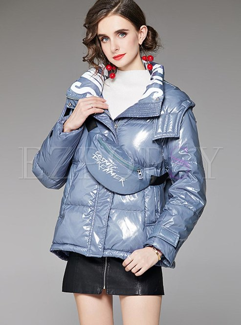 Letter Print Shiny Puffer Jacket