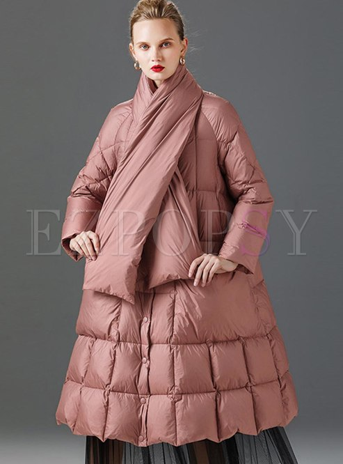 Plus Size A Line Down Coat With Scarf