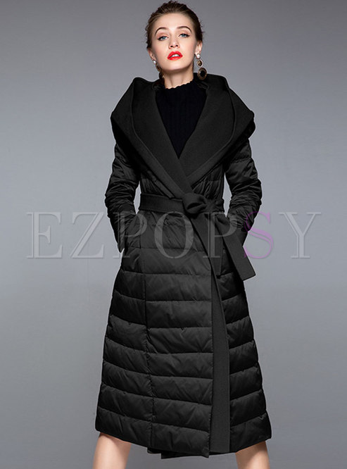 Pure Color Hooded Patchwork Long Down Coat