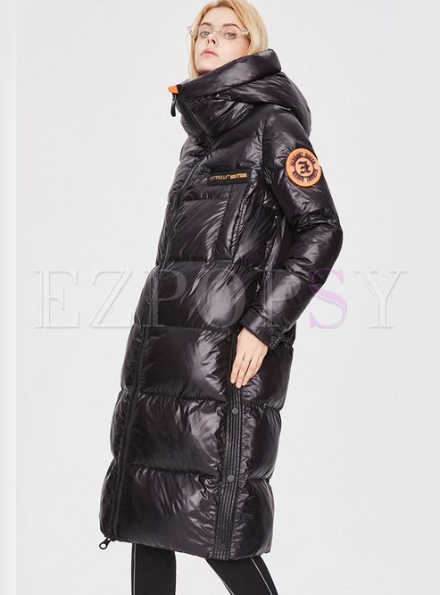 Hooded Side Split Shiny Long Puffer Coat