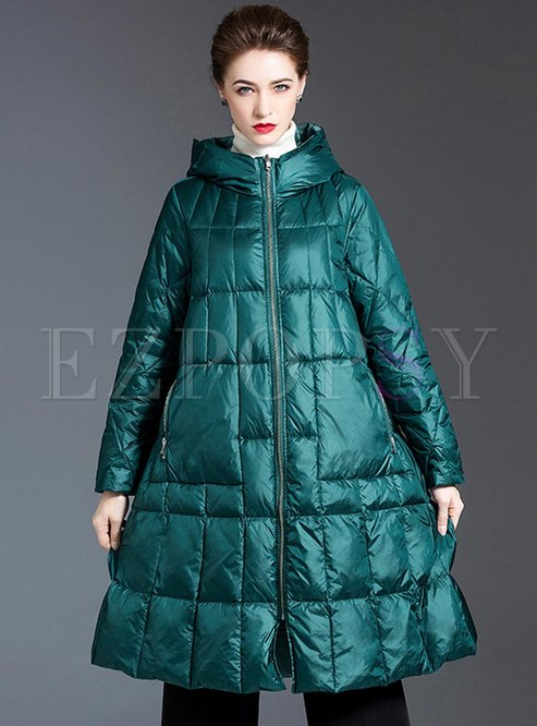 Hooded Knee-length A Line Down Coat