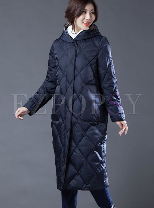 Hooded Diamond Long Straight Down Coat