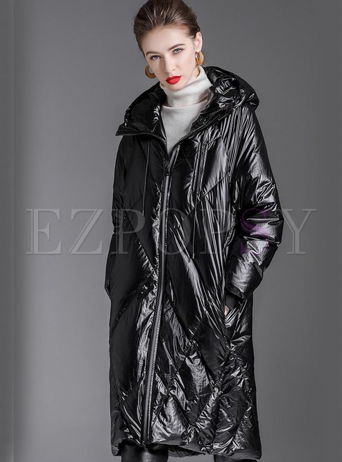 Black Straight Hooded Knee-length Down Coat