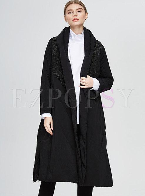 Black Lapel Sequin Plus Size Down Coat