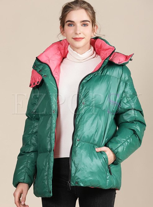Removable Hooded Color-blocked Short Coat