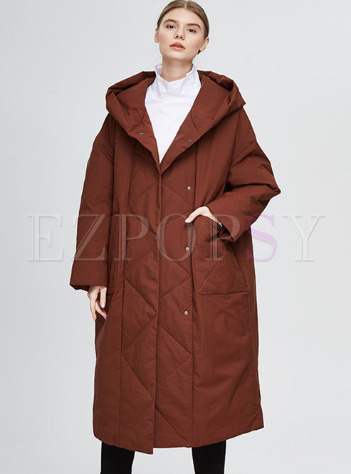 Plus Size Single-breasted Hooded Down Coat