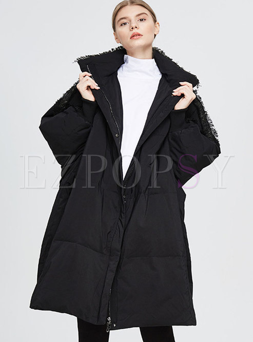 Plus Size Mock Neck Fringed Down Coat