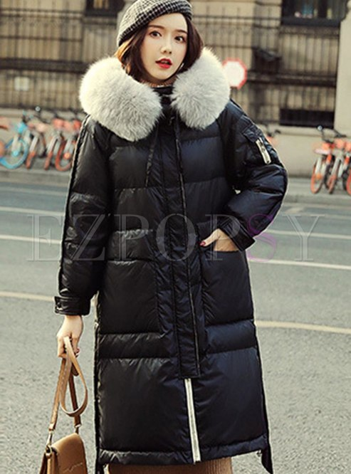 Color-blocked Straight Knee-length Down Coat