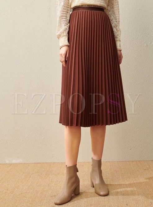 High Waisted Pleated A Line Long Skirt