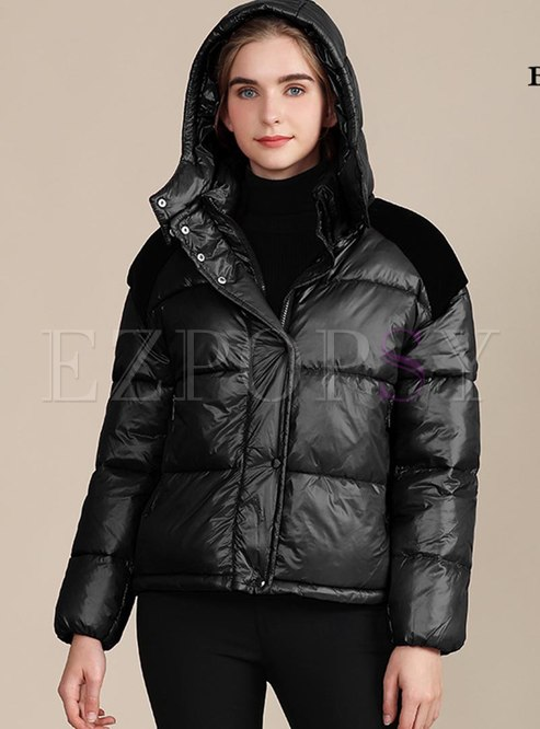 Color-blocked Removable Hooded Short Coat