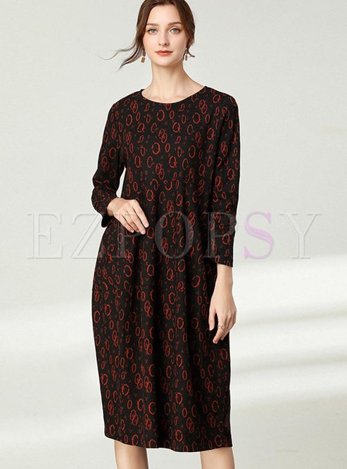 Plus Size Print Crew Neck Shift Dress