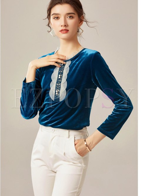 Crew Neck Patchwork Velvet Blouse