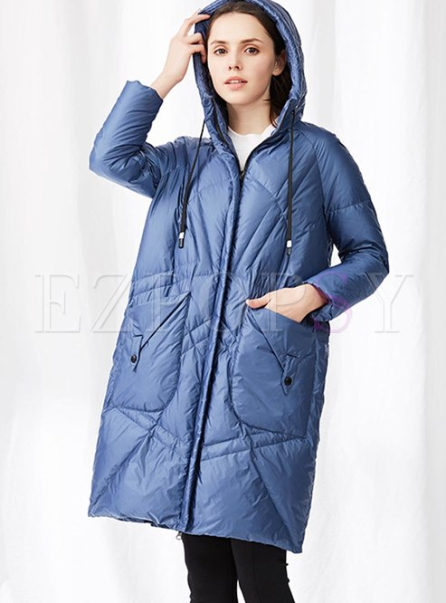 Pure Color Hooded Knee-length Down Coat