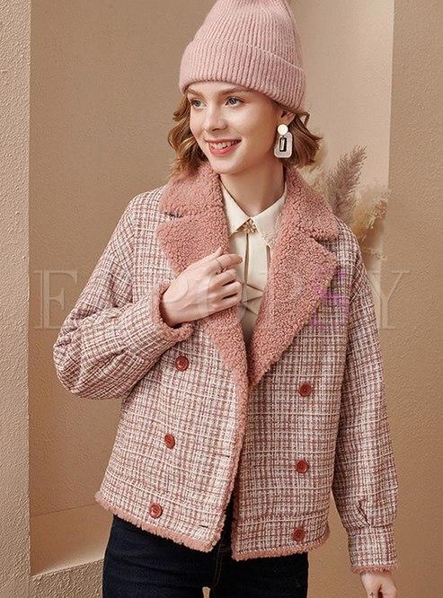 Pink Fleece Patchwork Plaid Short Coat