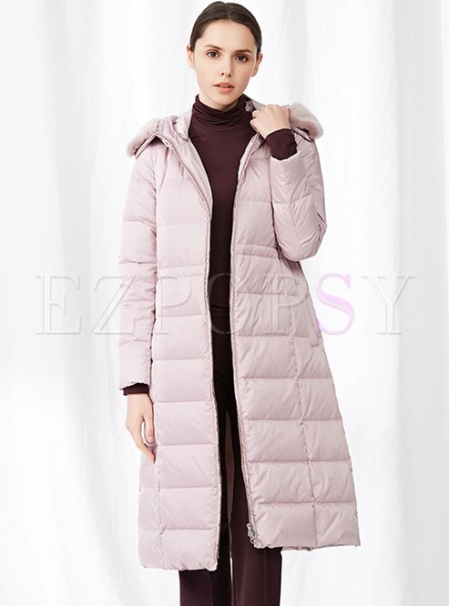 Fur Collar Hooded A Line Puffer Coat
