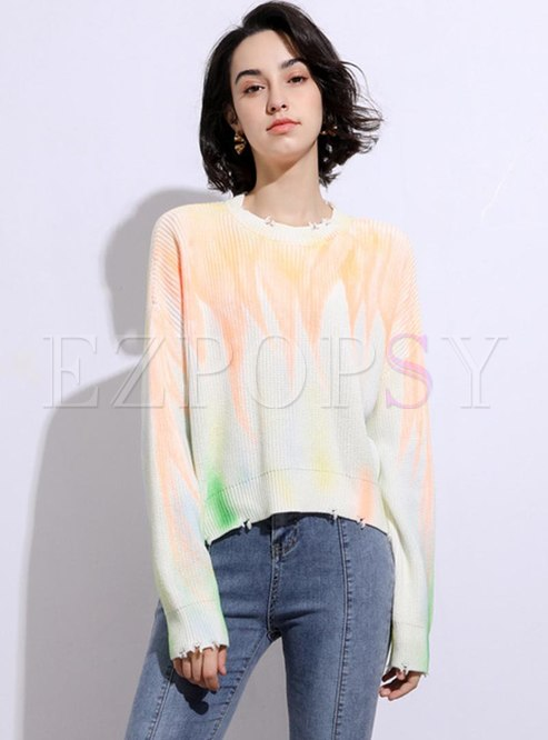 Pullover Tie Dye Crew Neck Ripped Sweater