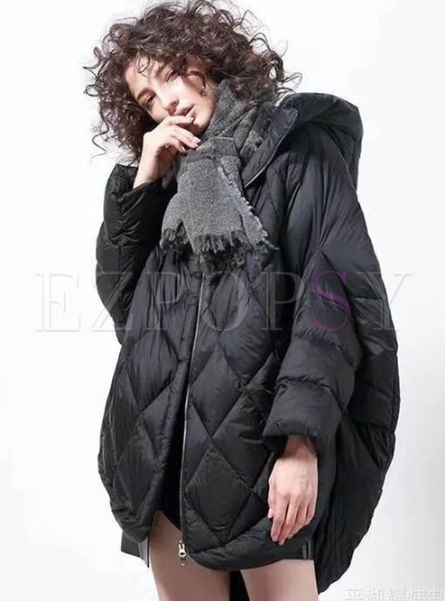 Plus Size Bat Sleeve Diamond Down Coat
