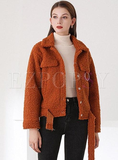 Turn Down Collar Short Lambswool Teddy Coat