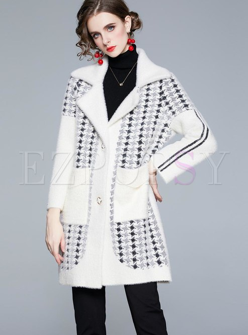 Color-blocked Lapel Single-breasted Overcoat