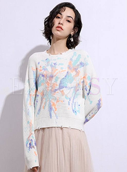 Pullover Tie Dye Ripped Loose Sweater