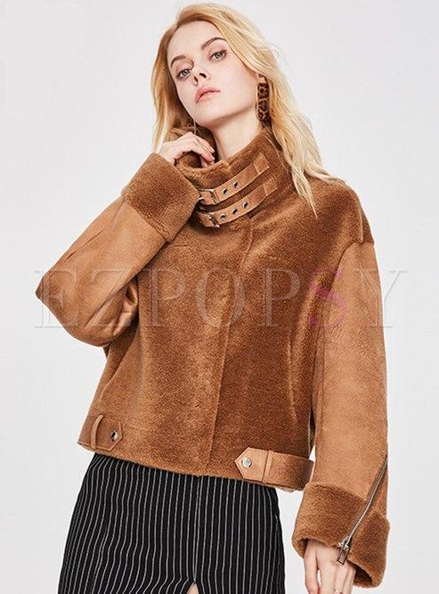 Mock Neck Patchwork Short Straight Coat
