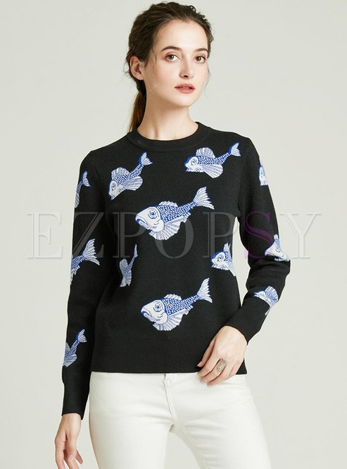 Crew Neck Embroidered Pullover Sweater