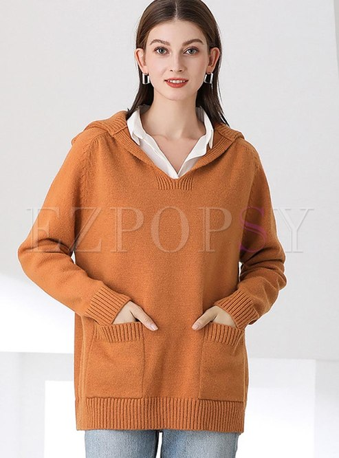 V-neck Solid Pullover Sweater With Pockets