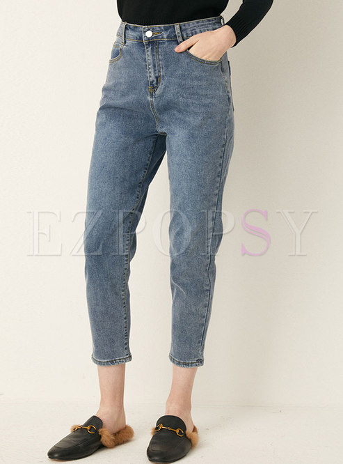 High Waisted Denim Pencil Cropped Pants