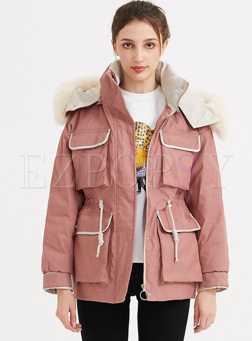 Fur Collar Color-blocked Drawstring Down Coat