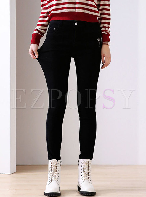 High Waisted Black Plush Skinny Pants