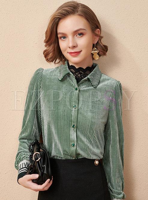 Long Sleeve Turn Down Collar Velvet Blouse