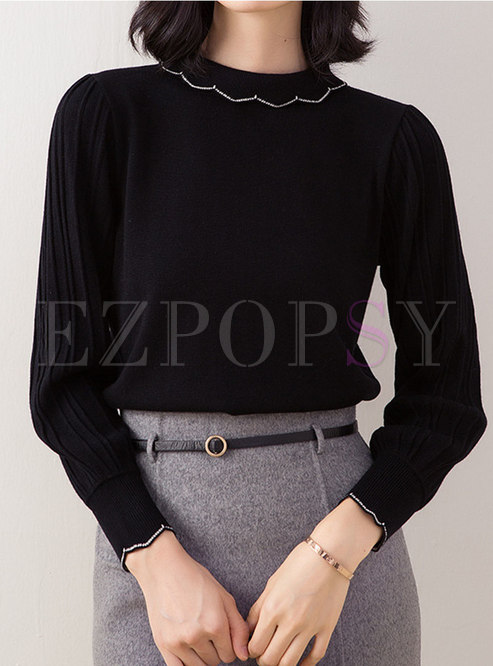Puff Sleeve Pullover Loose Sweater