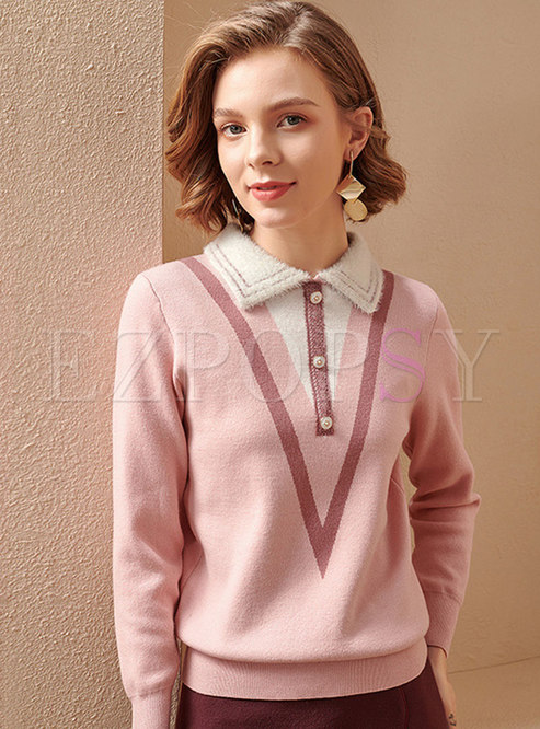Long Sleeve Color-blocked Pullover Sweater