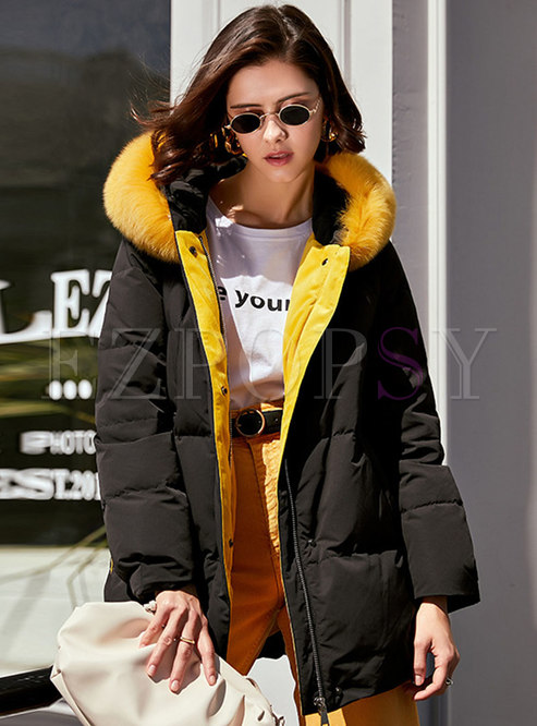 Hooded Straight Mid-length Duck Down Coat