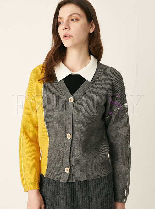Color-blocked V-neck Short Cardigan