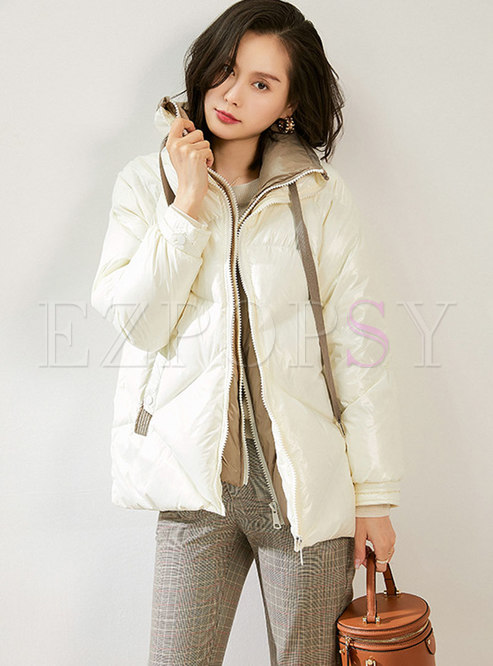 Letter Hooded Drawstring Shiny Puffer Jacket