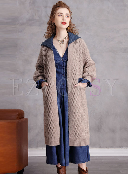 Removable Hooded Denim Patchwork Knitted Coat