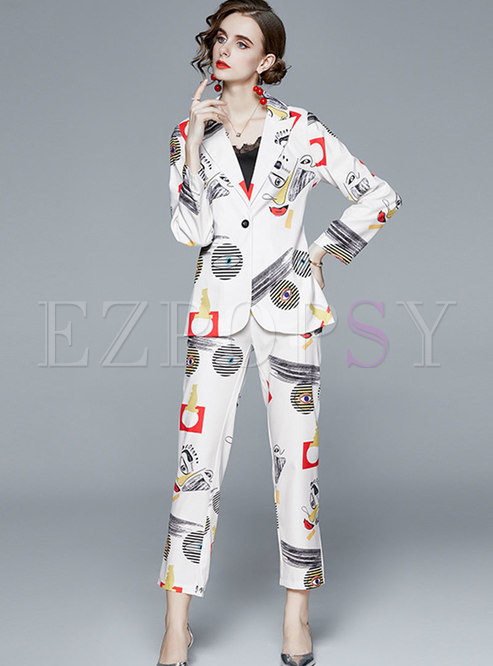 Notched Print Slim High Waisted Pant Suits