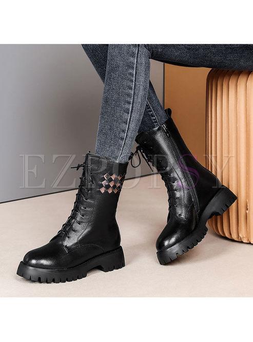 Rounded Toe Platform Short Martin Boots