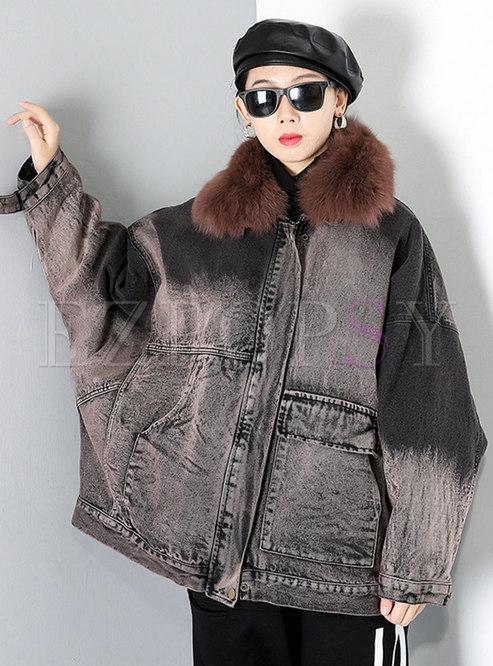 Removable Plus Size Washed Denim Coat