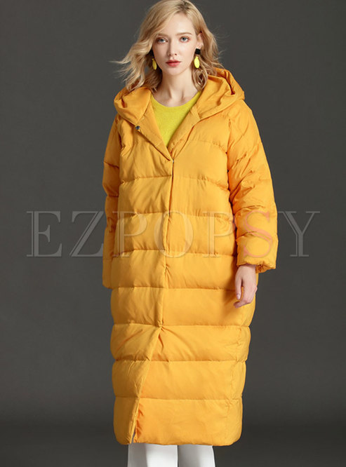 Hooded Solid Long Single-breasted Puff Coat