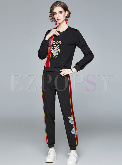 Crew Neck Letter Embroidered Casual Pant Suits