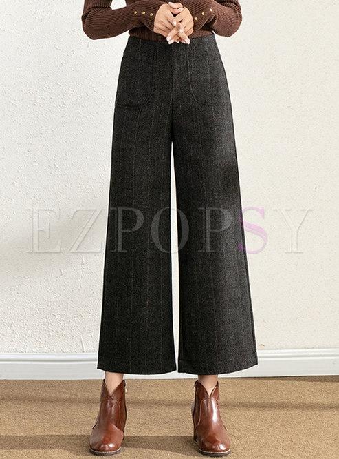 High Waisted Plaid Wide Leg Pants
