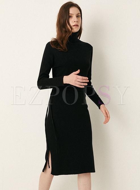 Solid Long Sleeve Split Sweater Dress