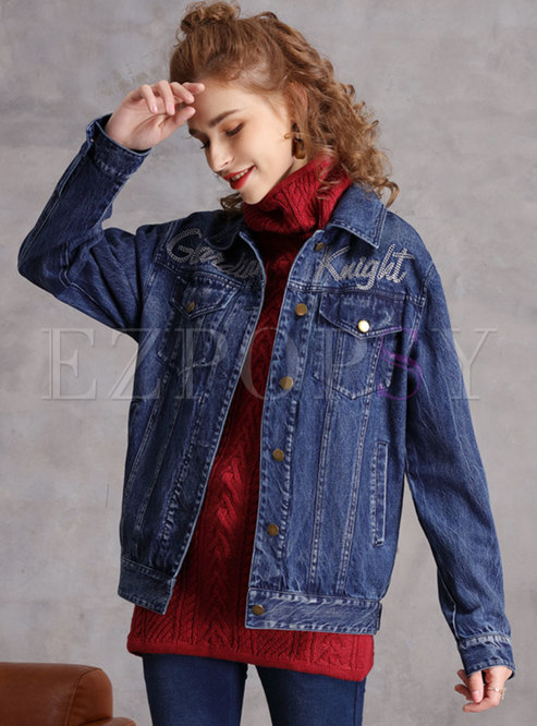 Embroidered Single-breasted Denim Jacket