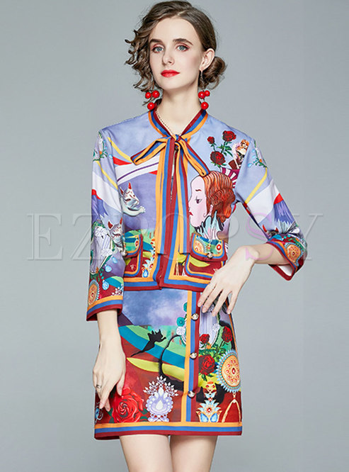 3/4 Sleeve Print Bowknot Mini Skirt Suits