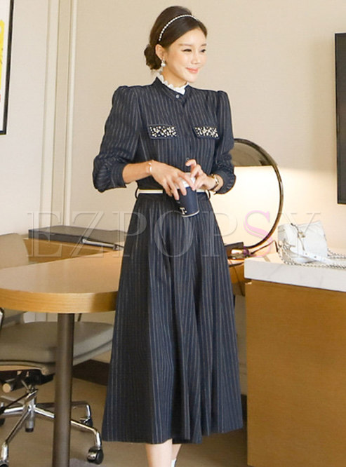 Mock Neck Striped Cropped Wide Leg Pant Suits