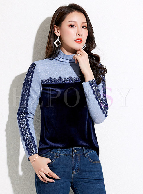 Lace Color-blocked Patchwork Slim Sweater